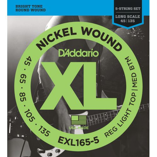 D'Addario EXL165-5 45-135 五弦電貝斯弦 / Nickel Wound