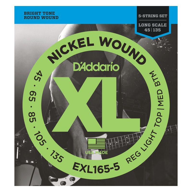 D'Addario EXL165-5 Nickel Wound BASS 45-135 (5弦)