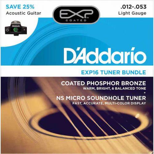 D'Addario EXP16 12-53 木吉他弦 + 音孔隱藏式調音器 超值套裝組