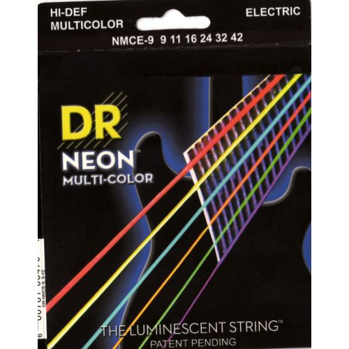 DR 09-42 彩色夜光電吉他弦 Neon Multi-Color NMCE9