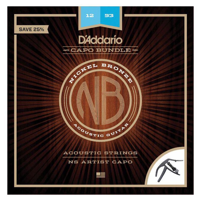 D'Addario 鍍鎳銅木吉他弦 NB1253 + NS Capo 移調夾 套裝組