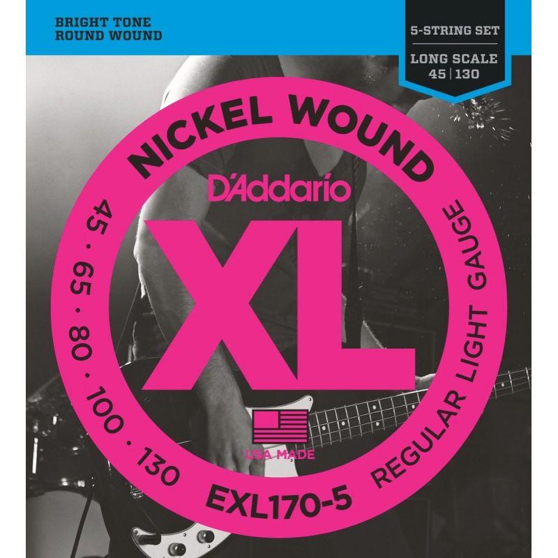 D'Addario EXL170-5 45-130 五弦電貝斯弦 / Nickel Wound