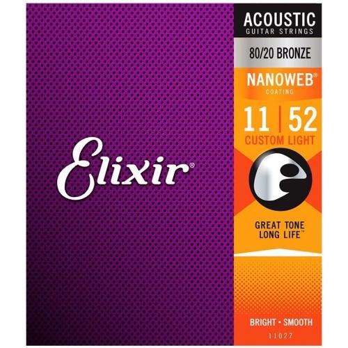 Elixir Nanoweb 薄包覆 11-52 黃銅 木吉他弦 (11027)