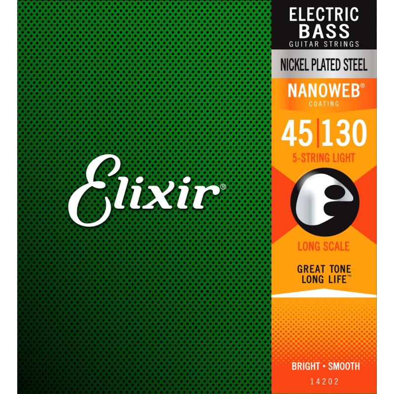 Elixir Nanoweb Bass 五弦 45-130 / 鍍鎳 (14202)