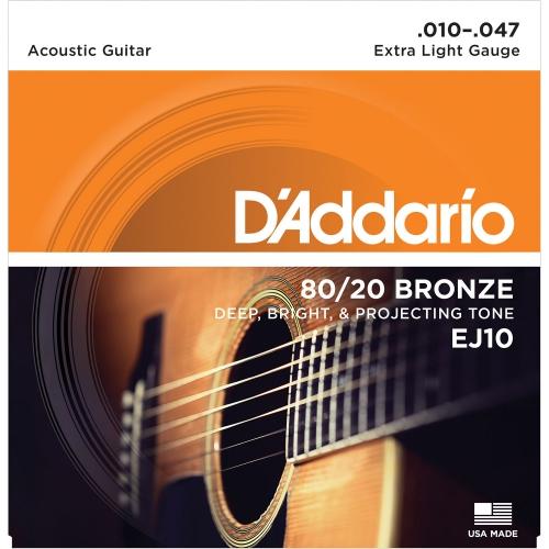 D'Addario EJ10 黃銅民謠吉他弦 10-47
