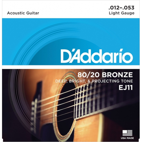 D'Addario EJ11 黃銅民謠吉他弦 12-53